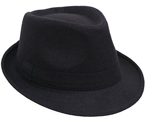Men / Women's Classic Short Brim Gangster Manhattan Trilby Fedora Hat, Black