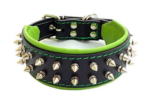 Bestia Frenchie Dog Collar, Spiked, Handmade, Bulldog Design, Pug, Terrier, Labrador, German Shepherd, Retriever, Boxer, Doberman, 2 inch Wide (Doberman Spike Collar)