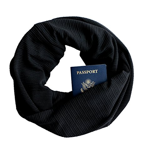 Pull Misses (Black Ribbed Knit Infinity Scarf with Zippered Secret Pocket)
