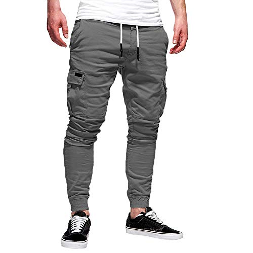 (iYBUIA Men's Jogger Pants in Basic Solid Colors and Stretch Twill)
