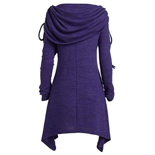 Classique Fronc Mode Tops Foldover Unie Longues Violet Automne Couleur Chemisier Bringbring Femme Manches Tunique wXqEBvv