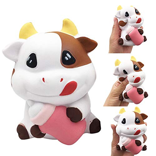 Milk Cow Stress Ball - fomoisclU Slow Rising Soft Toy Squishies Jumbo Squishy Scented Kawaii Cow Milk Bottle Stress Reliever Squeeze Toy Key Chain Charm Pendent Party Bag Fillers Gift Party Favors for Kids Boys Girls Adults