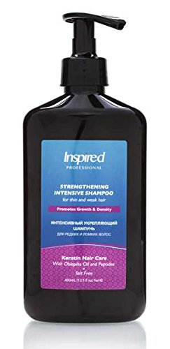 Inspired Strengthening Intensive Thickening Shampoo Keratin Premium Preventive Hair Care Anti-Hair Loss with Natural Peptides Fruits Extract Certified Moroccan Organic Argan Oil 400 ml / 13.5 - Fruit Miracle Plus