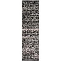 2.15 x 7.5 Pyramid Treasure Midnight Black and Mysterious Shades of Gray Area Throw Rug Runner
