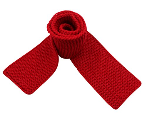 Kids Knitted Scarf Fashion Solid Color Toddler Soft Warm Scarves Neck Warmer,Red