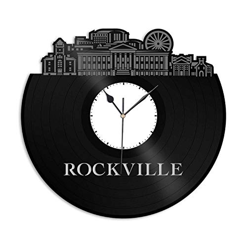 VinylShopUS - Rockville MD Vinyl Wall Clock City Skyline Unique Gift Office Home | Bedroom Decoration -