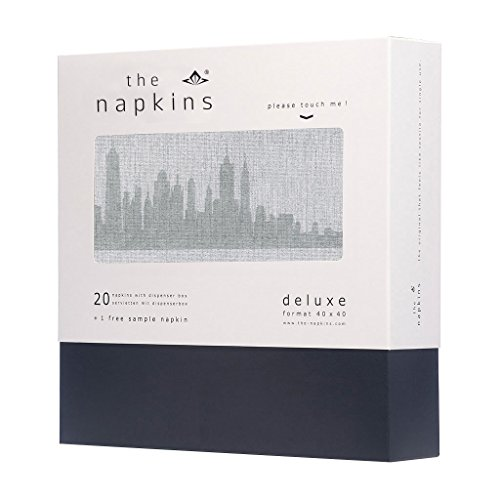 The Napkins Deluxe Cityscape New York - Silver Grey Luxury Paper Napkin - Feels Like Cloth -