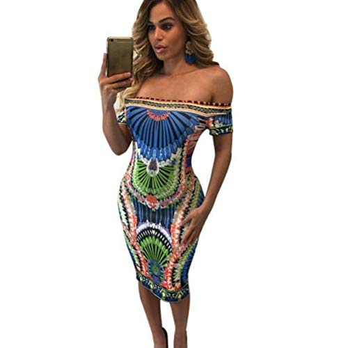 55af062b Amazon.com: African Printed Dress, New Women Summer Casual Deep V ...