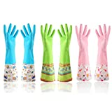 Household Rubber Cleaning Kitchen Dishwashing gloves 3-Pairs,Waterproof Reuseable. (Width)