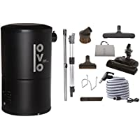 OVO Compact 550 Airwatts Central Vacuum System Power Unit with Carpet Deluxe Accessory Kit Included Cleaner, Condo-Vac, Black