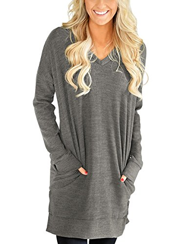 LERUCCI Womens Casual Long Sleeves Solid V-Neck Tunics Sweatshirt with Pockets Grey X-Large