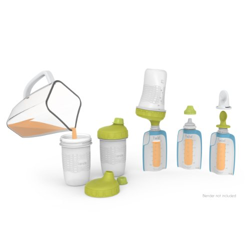 Kiinde Foodii Baby Food Storage Starter Kit, Squeeze Pouch and Reusable Spouts Set ()