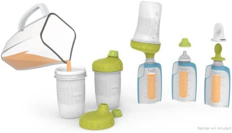 Kiinde Foodii Baby Food Storage Starter Kit, Squeeze Pouch and Reusable Spouts Set