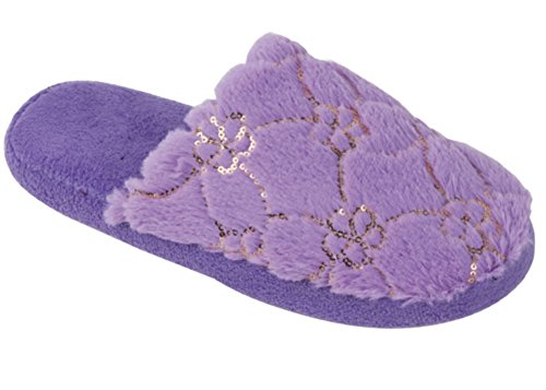 New Womens Spa Slide House Slippers Accented With Faux Fur and Sequins Purple SpDy4jqN