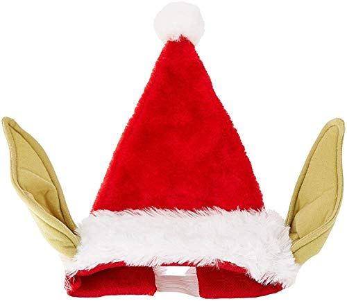 Star Wars Yoda Faux-Fur Santa Claus Hat w/Yoda Ears - Comical Christmas Fun Red]()
