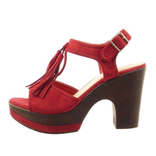 Sopily - Chaussure Mode Sandale ouverte Cheville femmes frange boucle Talon haut bloc 10 CM - Intérieur synthétique - Rouge