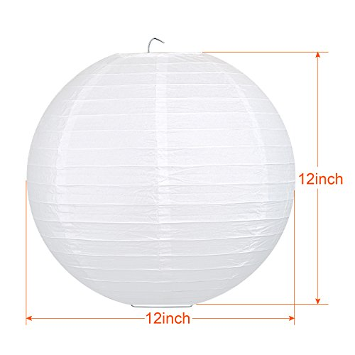 LIHAO 12 Inch White Round Paper Lanterns (10 Pack) by LIHAO (Image #2)