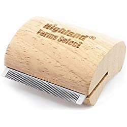 Highland Farms Select Ergonomic Wooden Design Deshedding Grooming Tool, Professional Pet Grooming Brush for Dogs, Cats and Horses, S