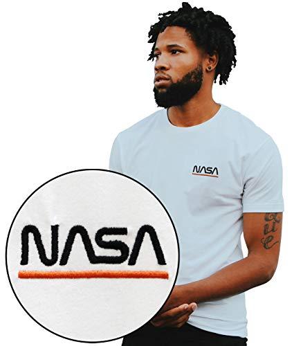 Riot Society NASA Orange Line Worm Logo Embroidered Mens T-Shirt - White, - Medium T-shirt White Embroidered