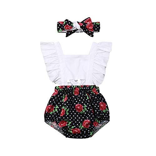 Infant Baby Girl Summer Lace Layered Ruffle Sleeve Romper Dress Bodysuit Clothes (Polka Dot, 6-12 Months)