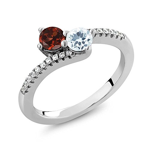 0.83 Ct Round Red Garnet Sky Blue Aquamarine Two Stone 925 Sterling Silver Bypass Ring Two Stone Bypass Ring