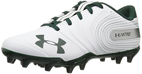 Under Armour Men's Nitro Low MC Football Shoe, White (102)/Forest Green, 6.5 (Soccer White Cleats Green And)