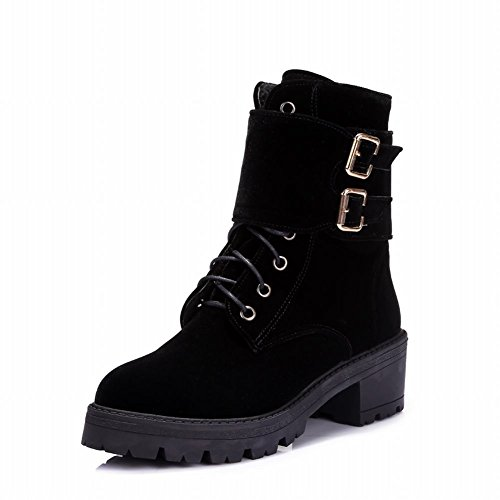Mid up Lace Boots Suede Latasa Womens Platform Chunky Buckles Short Fashion heel 1w7Xx0xCqB