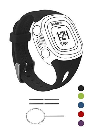BeneStellar Garmin Forerunner 10 / Forerunner 15 Watch Band, Silicone Replacement Small & Large Men & Women Band for Garmin Forerunner 10/15 Watch (Black, Large-Men Size)