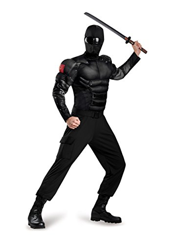 Disguise Men's Snake Eyes Classic Muscle Adult Costume, Black, X-Large -