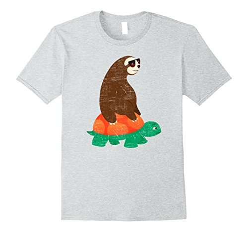 Mens Cool Sloth With Sunglasses Riding On Tortoise T-Shirt 2XL Heather - Sloth Sunglasses