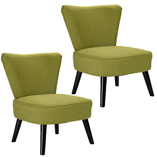 Giantex Set of 2 Armless Accent Dining Chair Modern Living Room Furniture  Fabric Wood Green Chairs for Amazon com