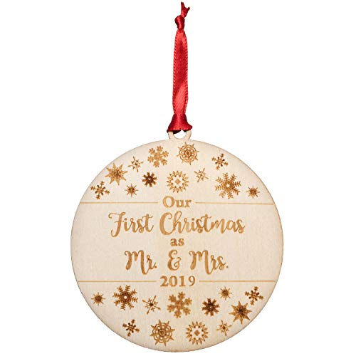 Vesiggio Our First Christmas As Mr. & Mrs. Ornament 2019 | Engraved Flat Wood, for Newlyweds, Unique Gift for Bridal Showers, Wedding Gift, Perfect as Stocking Stuffer Or Keepsake Gift