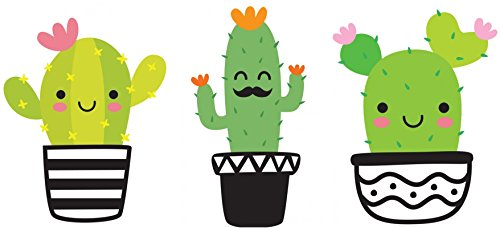 3 Pack Cute Cactus Stickers Decals 5