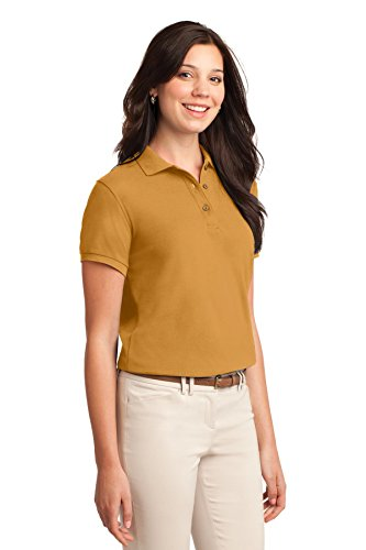 Port Authority Ladies Silk Touch Polo. L500 Gold 9PJXILNKMU