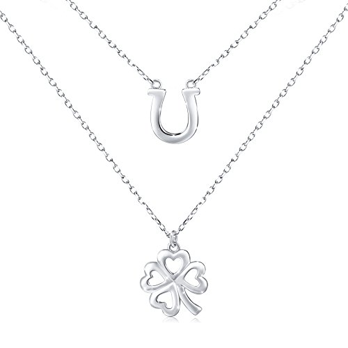 S925 Sterling Silver Double Layered Choker Necklace for Women, Rolo Chain 18' (Lucky Horseshoe and Clover)