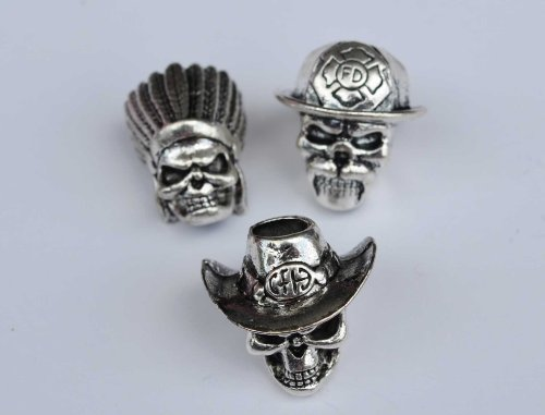 Skull Beads 3 Pack - Firefighter, Indian Warrior & Cowboy From Hell