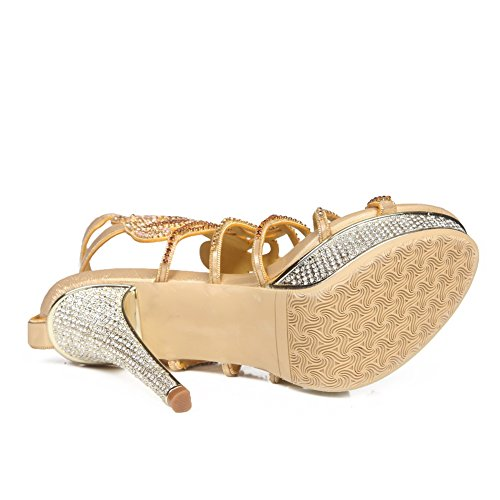 Zapatos High Nvxie Party Low Heel Sandalias Tamaño Strappy Mujeres Gold Señoras Mid Prom Diamante qwIpxUwPr