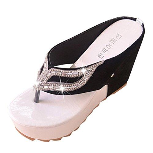 bescita Damen Modesommer Strasssteine Flach Flip Flops Sandalen Slipper Bohemia Style Weiß