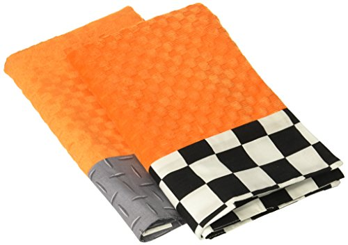 One Grace Place Teyo's Tires Burp Cloth, Black, White, Grey, Orange ()