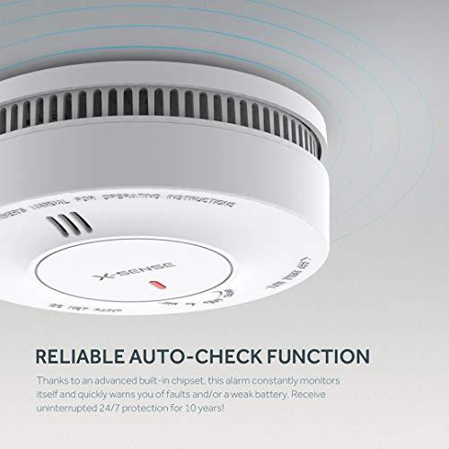 Alarma de humo X-SENSE, batería de 10 años, Precisión de detección 5 veces mejor con menos falsas alarmas, Detector de incendios con certificación TÜV ...