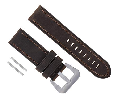 (Ewatchparts 24MM Cow Leather Watch Band Strap for PANERAI GMT LUMINOR RADIOMIR D/Brown #17)