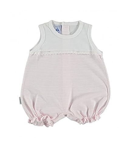 Pelele bebé de canesu y puntilla BABIDU rayas rosa