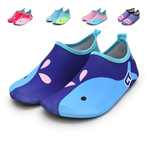 Baby Boys Girls Swim Water Shoes Barefoot Quick-Dry Aqua Socks For Beach Pool(Sky Blue,18-24 Months (Sole length 5.6 inches)
