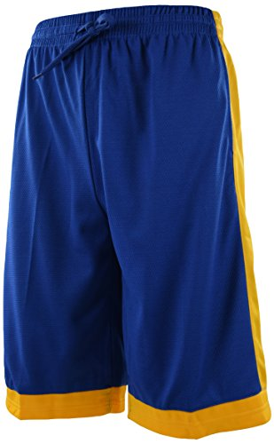 The JDP Co. Men's Athletic Gym Training Basketball Short (Large, 310 - Blue-Yellow) (Blue Basketball Shorts)