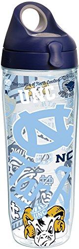Tervis 1258091 NCAA North Carolina Tar Heels All Over Water Bottle 24 oz Clear