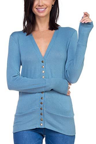 Vialumi Women's Regular Size Long Sleeve Snapped Button Clos