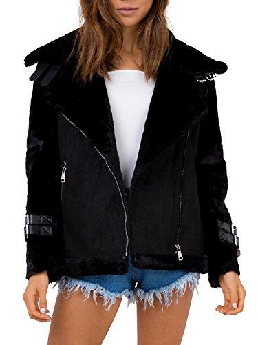 Black Leather Jacket Suede Coat (Simplee Womens Winter Warm Loose Oversized Faux Suede Fleece Jacket Coat Outwear)