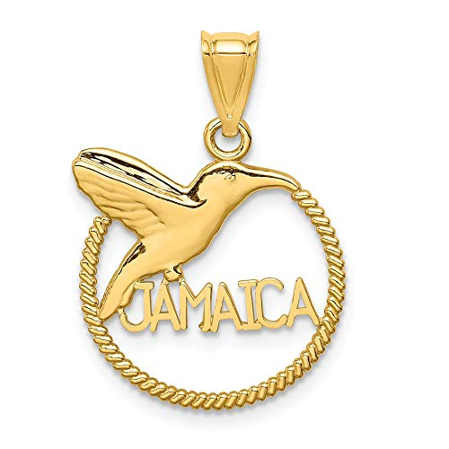 14k Polished Hummingbird Jamaica Pendant