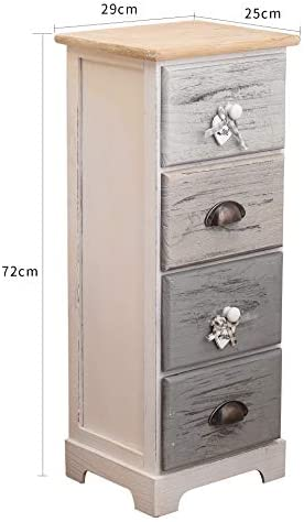 Rebecca Mobili Chest of Drawer 4 Drawers Paulownia Wood White Blue Shabby Gray Seagoing Style Bedroom Bathroom - 72 x 29 x 25 cm (H x W x D) - Art. RE4482