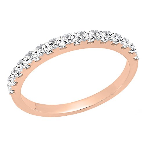 0.50 Carat (ctw) 10K Rose Gold Round Diamond Wedding Anniversary Stackable Band 1/2 CT (Size 8) (Gold Stackable Diamond Band Rose)